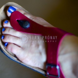 Blue toenail polish